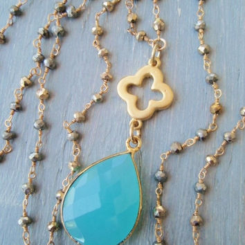 Long gemstone chalcedony necklace ' Heaven's Rain ' aqua turquoise blue gold vermeil wire wrapped semi precious stone cross quatrefoil boho
