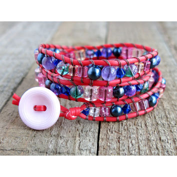 Glass Beaded Triple Wrap Bracelet - Pink Vintage Button - Red Wrap Bracelet - Three Strand - Red Wrap Bracelet