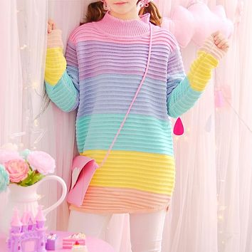 Rainbow Pastel Long Sweater