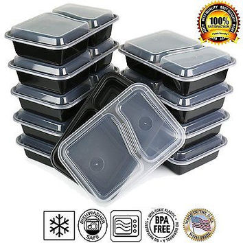 Microwavable Reusable Healthy Meal Prep Food Storage Containers 2 Compartment