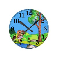 Girly Bear Round Clock