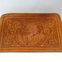 Vintage hippie bohemian folk hand tooled tan leather clutch bag