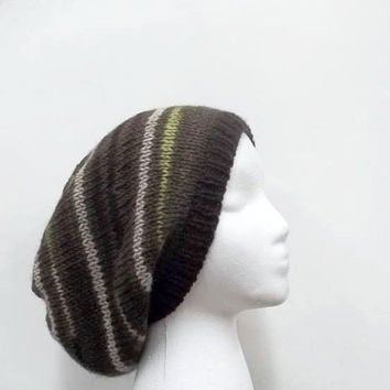 Wool oversized beanie hand knitted  womens hat, mens hat - free shipping 4993