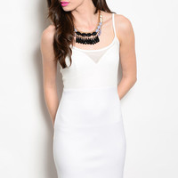 Ivory Spaghetti Strap Bodycon Dress