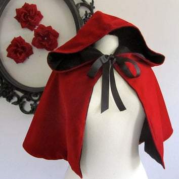Red Riding Hood Cape red hooded cape for adults - velvet fleece satin
