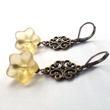 Bohemian Flower Earrings - Yellow Hippie Vintage Inspired Flower Earrings