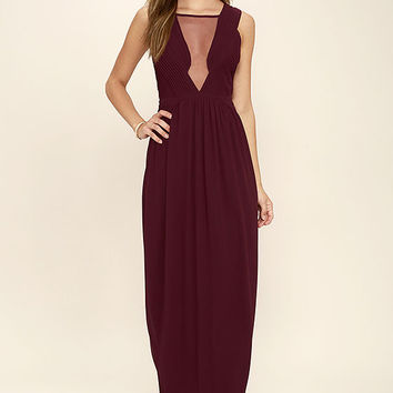 Dazzling Decadence Burgundy Maxi Dress