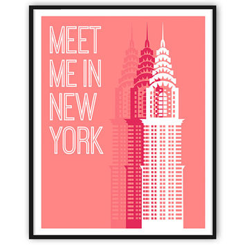 Pink New York Chrysler Building ART PRINT NY Home Decor New York Art New York Print, Coral Art Wall Decor Travel Poster Typographic Print
