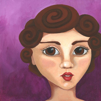 Acrylic Portrait Painting Print, Girl Portrait, 10 x 10, Whimsical Contemporary Portrait, Purple Background