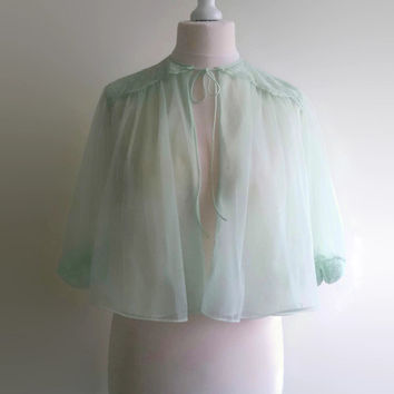 Vintage mint bed jacket - 1960s Vanity Fair green bolero - swishy nylon pin up capelet  - retro sheer lingerie