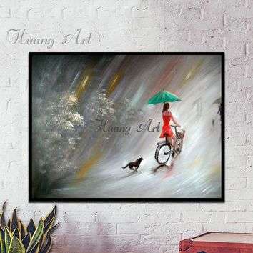 Hand painted oil painting women's pets living room bedroom sofa background wall decorative hanging mural painting unframed