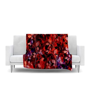 "Ebi Emporium ""Amongst the Flowers - Summer Nights"" Red Black Fleece Throw Blanket - Outlet Item"