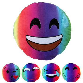 New Colorful Emoji Pillow Rainbow Smiley Emoji Plush Toy Emotion Cushion Funny Face Emotion Attractive Household Sofa Bed Deco
