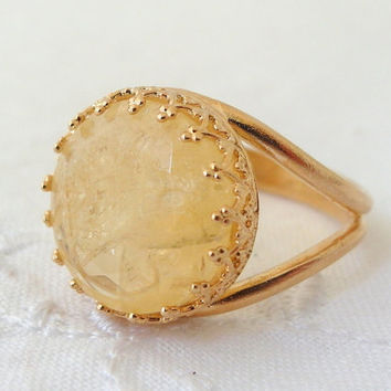 Citrine ring, Gemstone ring,  Gold ring, Vintage ring, cocktail ring, yellow stone ring, 14 mm Gemstone ring,  Faceted ring, bridal ring
