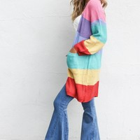 Destiny Rainbow Striped Long Sleeve Cardigan
