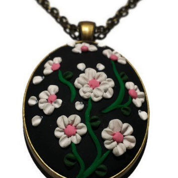 Floral Necklace Black and White Polymer Clay Necklace 3D Jewelry Clay Charm Boho Flower Necklace Oval Pendant Necklace Spring Jewelry Gift