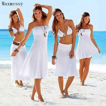 DCCK7N3 Maxmessy More Wear Beach Cover Up Bikini Swimwear Women Tube Top Beach Dress Swimming Cover Ups Bathing Suit Rip Curl MC246