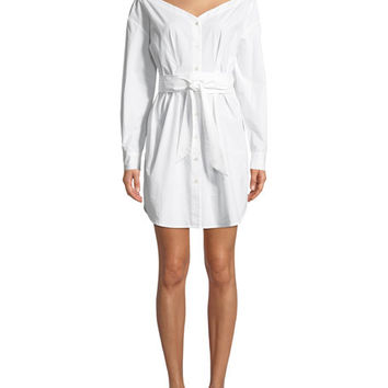 FRAME Button-Front Long-Sleeve Belted Poplin Dress