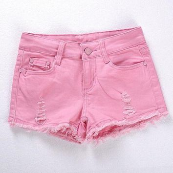 PEAPGC3 Spring and Summer Women's Fashion Casual Skinny Denim Shorts Pink Black White Hole Ripped Low-waist Sexy Short Super shorts