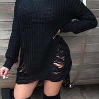 Black Ripped Cut Out Ssymmetric Sweater Dress