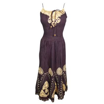 Mogul Womens Beach Party Dress Batik Embroidered Strapy Elastic Waist Boho Chic Rayon Dark Purple Sundress M - Walmart.com