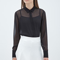 FOREVER 21 Collared Chiffon Blouse