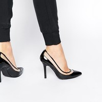 London Rebel Polly Perspex Heeled Court Shoes