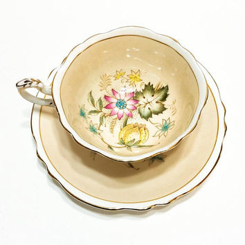 Paragon Tea Cup, Fawn / Buff, Pink Yellow Flowers, Shabby Chic Decor, English Tea Cup, Bone China, 1940s, Vintage Porcelain