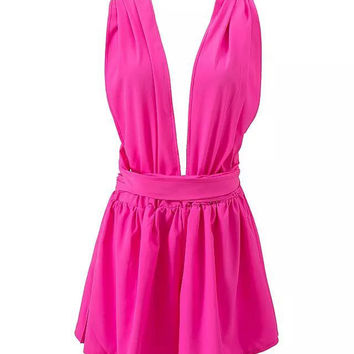 Pink Pleated Deep V-Neckline Cross Back Romper