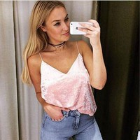 CREYOND Sexy Velvet Straps V Neck Boho Party Tank Top Tees t Shirt
