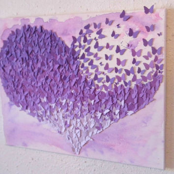 Purple Ombre Heart- 3D Butterfly Wall Art/ Nursery Decor/ Ombre Art (16x20)