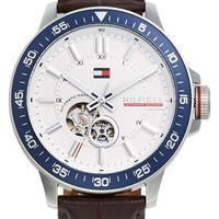 Men's Tommy Hilfiger Automatic Leather Strap Watch, 46mm