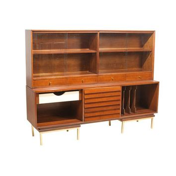 Pre-owned Gershun Mid-Century Modern Two-Piece Hutch