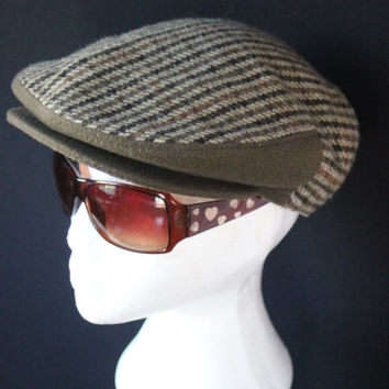 70s Vintage Hat houndstooth wool Thick Applejack Style Newsboy Cabbie Driving Hat Cap Head warmer Earmuffs TWEED winter hat toque EPSTEAM