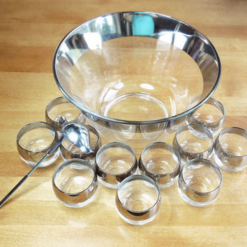 Vintage Dorothy Thorpe style punch bowl set - Roly Poly glasses with silver band - Mad Men glass punch bowl set