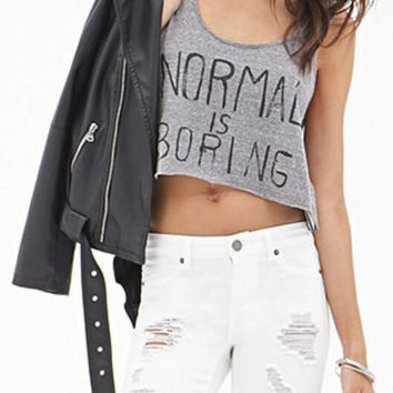 "New Summer fashion Sexy Women vest ""NORMAL IS BORING"" Pattern sleeveless T-shirt -0706"