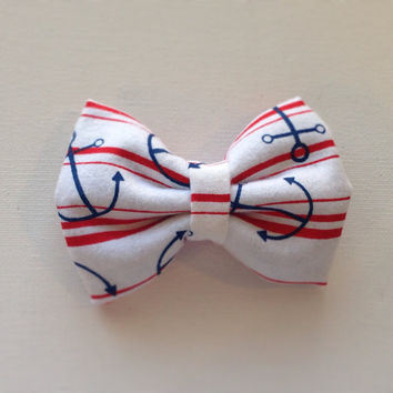 Nautical Anchor Hair Bow by RAWkstarBows on Etsy