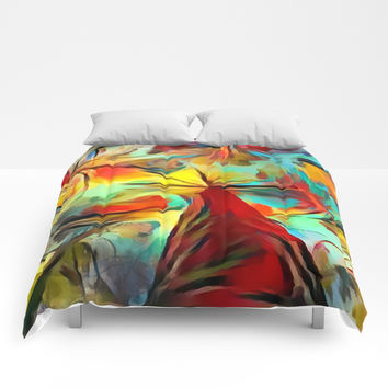 Red forest, colorful sky view, abstract warm artwork, red and yellow colors, nature themed pattern Comforters by Casemiro Arts - Peter Reiss