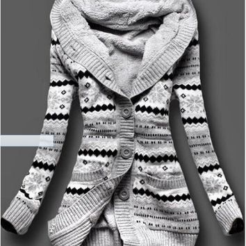 Winter Warm Ethnic Hoodie Knit Cardigan