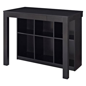 Altra Parsons Style Desk with Drawer and Bookcase - Black Oak | Hayneedle