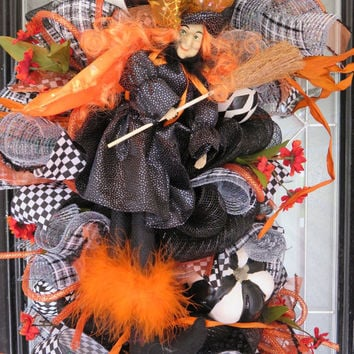 Halloween Wreath, Halloween Door Swag, Halloween Party Decor, Fall Wreaths, Front door wreath, Witch Wreath, Ready to Ship