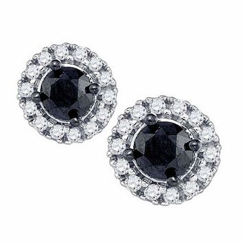 10kt White Gold Women's Round Black Color Enhanced Diamond Solitaire Circle Frame Earrings 1.00 Cttw - FREE Shipping (US/CAN)