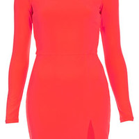 Shoulder Pad Bodycon Dress - Dresses  - Clothing