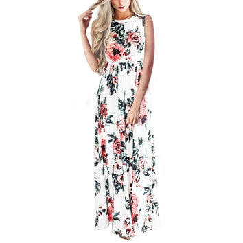 Sleeveless Print Prom Dress One Piece Dress [10826062918]