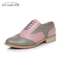 Genuine leather big woman US size 10 designer vintage flats shoes round toe handmade pink grey 2017 oxford shoes for women fur