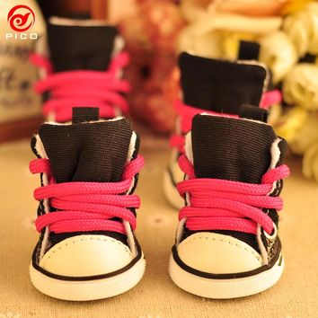 4pcs\lot Winter Outdoor warm Pet Dog Denim Shoes puppy Canvas shoes small dogs Sport Casual Anti-slip Boots ZL109-2