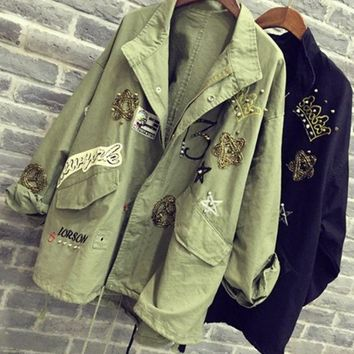 ICIKJ1A Fadhion cute  dark green frock coat embroidered patch rivet coat LOWEST PRICE