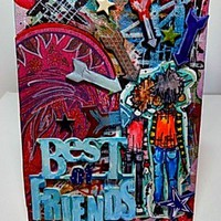 Best of Friends Mixed Media Canvas Board. Listed and Ready to Ship