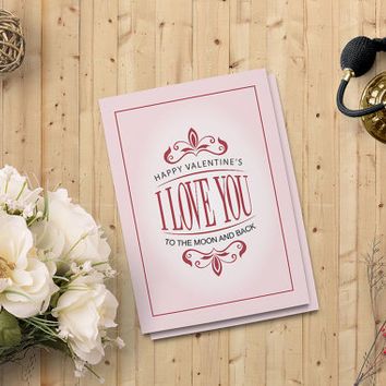 "Valentine's Day Card - Printable  Instant download - I Love You Card - 5""x7"" Digital Downloadable Card - Instant Download - on SALE 50%"