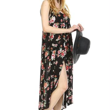 Button Down Floral Maxi Dress